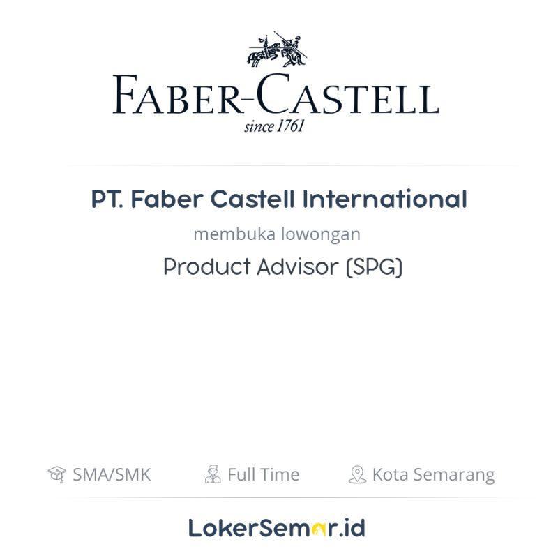 lowongan kerja product advisor spg di pt faber castell